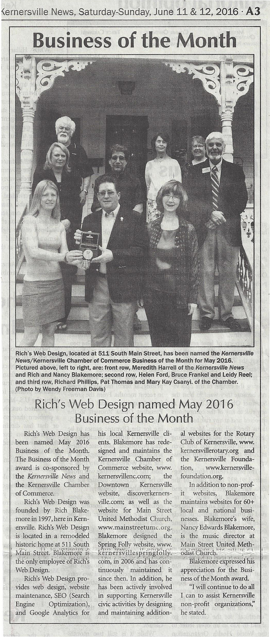 Business of the Month - May-2016