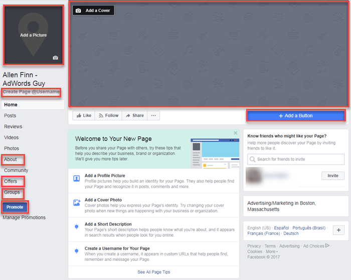 how to create web page facebook